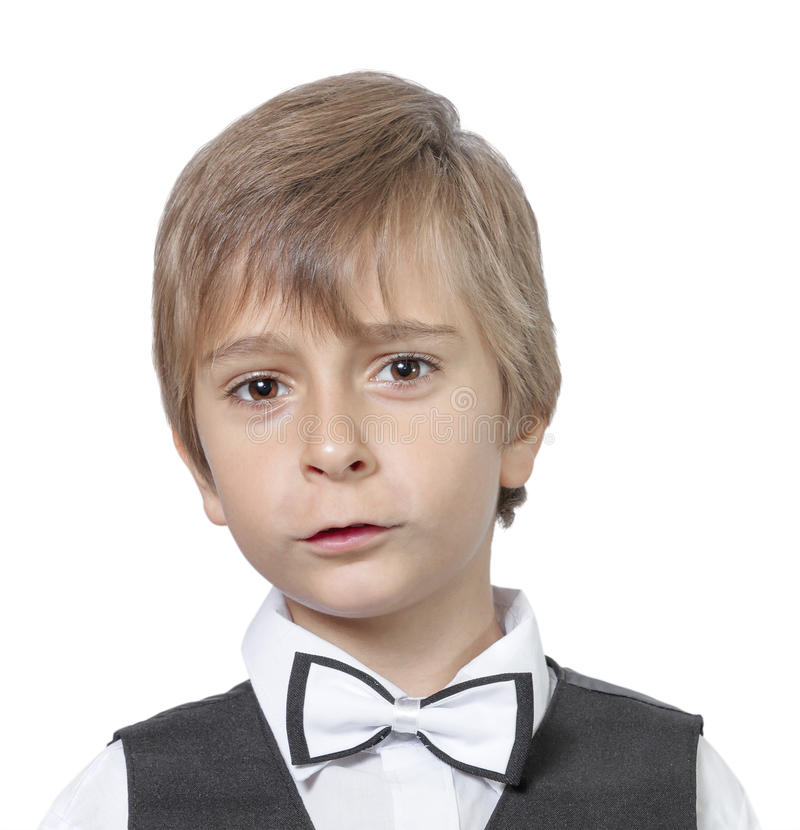 惊奇的少年男孩情感画象  免版税图库摄影