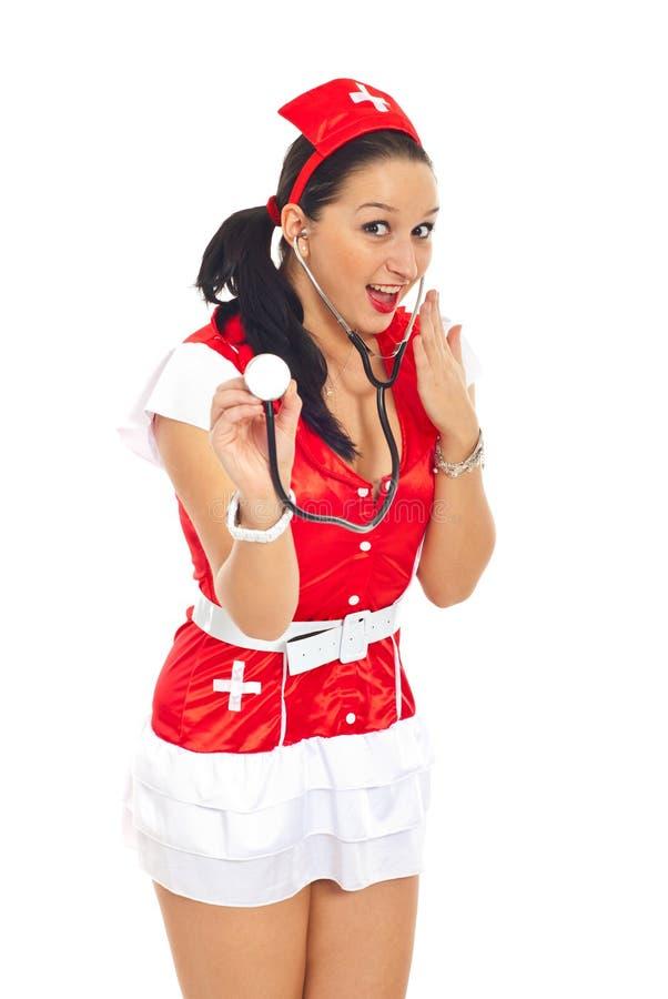 惊奇的护士性感 库存图片
