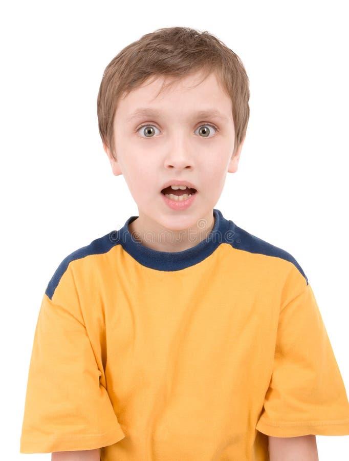 惊奇的男孩纵向 免版税库存图片