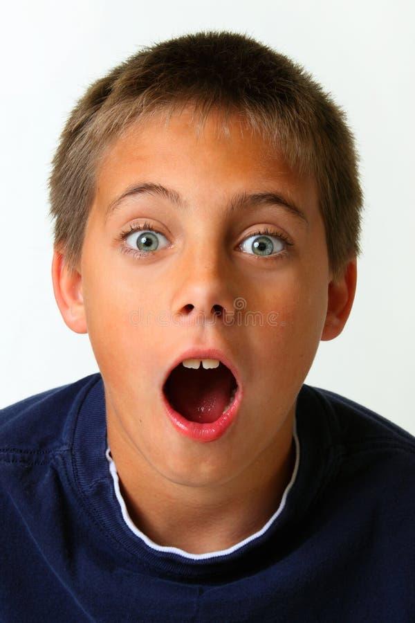 惊奇的男孩表达式 免版税图库摄影