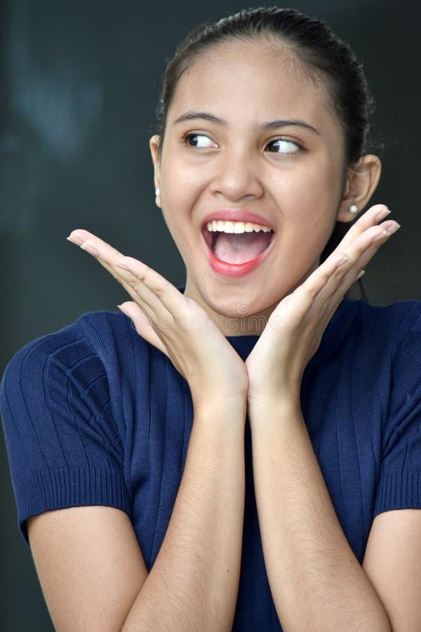 惊奇的美丽的亚裔少年女性 免版税库存照片