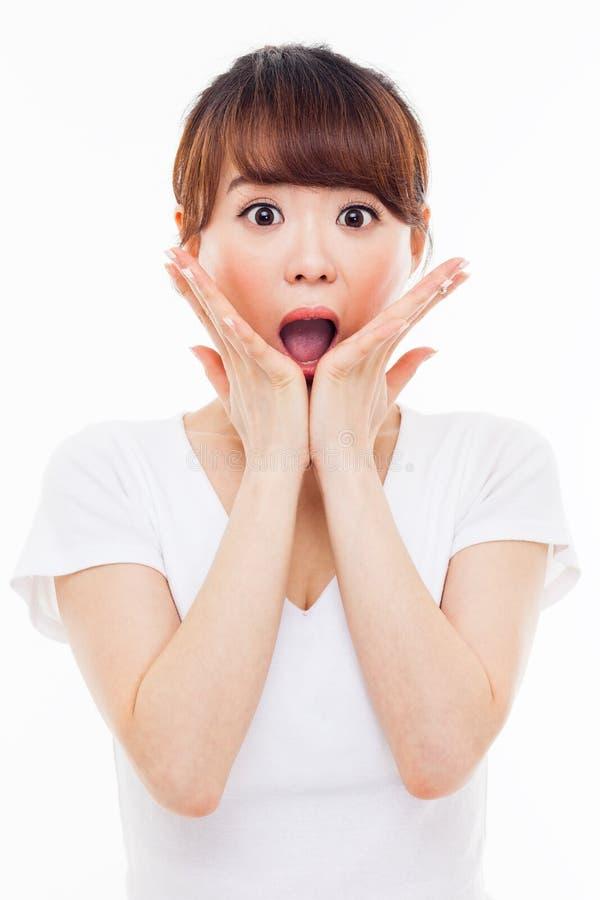 惊奇的年轻亚裔女孩 免版税库存照片