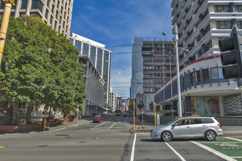 惠灵顿,新西兰首都都市风景,位于北部海岛 免版税库存图片