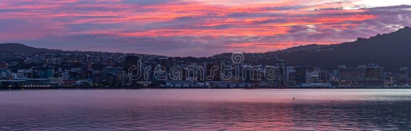 惠灵顿,新西兰,在镇静港口的全景五颜六色的日落 库存图片