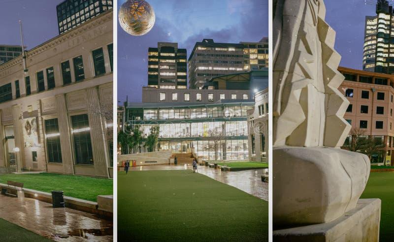 惠灵顿,新西兰- 2018年9月4日:城市从杰克Ilott绿园的夜地平线 惠灵顿是资本的新 免版税库存照片