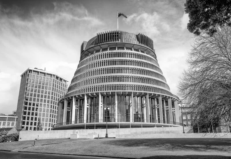 惠灵顿,新西兰- 2018年9月5日:政府大厦在一好日子 惠灵顿是其中一个主要城市  库存图片