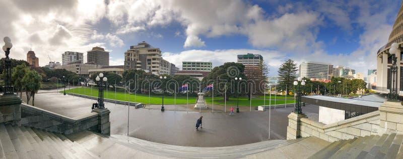 惠灵顿,新西兰- 2018年9月5日:新西兰议会大厦在一好日子 免版税库存照片
