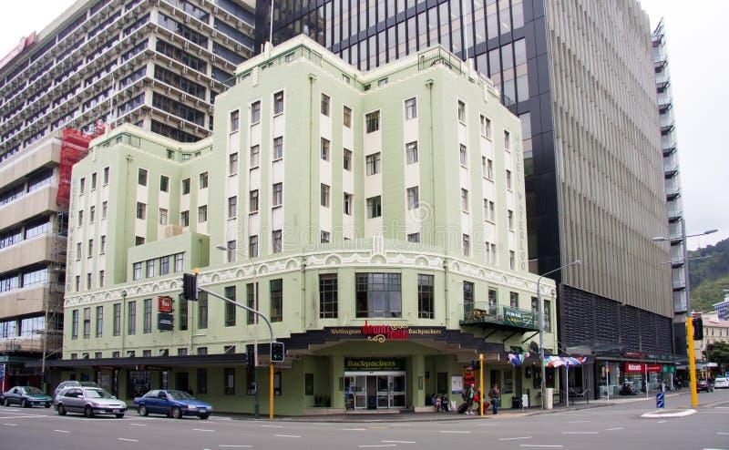 惠灵顿,新西兰-毁损第1 :艺术装饰滑铁卢旅馆o 库存图片