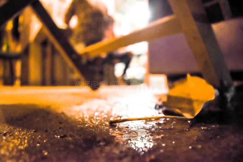 惰性经济的泰国餐馆由于突然行动在泰国 图库摄影