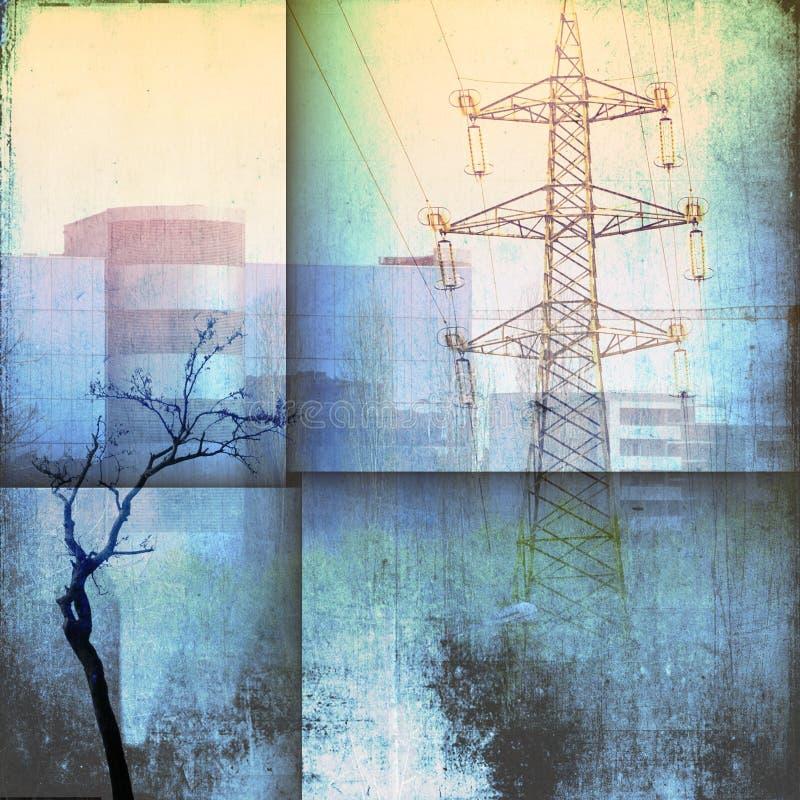 幻想与大厦、定向塔和光秃的树的建筑学地平线在蓝色口气 库存图片