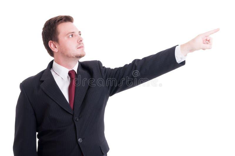 幻想商人或财政经理poiting的手指 免版税库存照片
