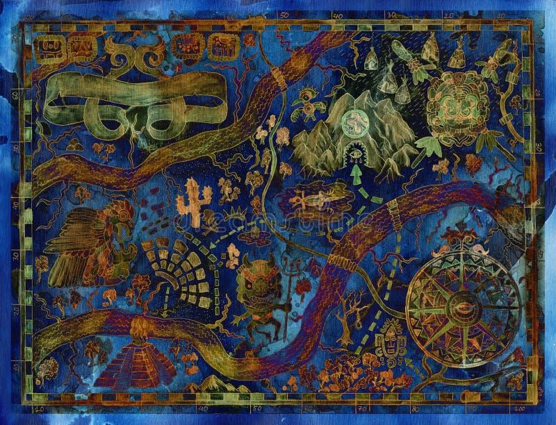 幻想土地被称呼的蓝色葡萄酒地图有有海盗珍宝的 向量例证
