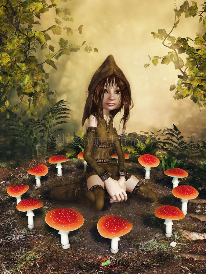 幻想地精和蘑菇 库存例证