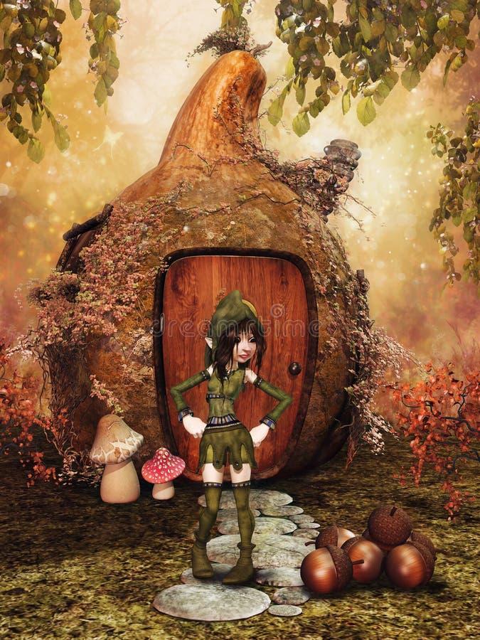 幻想女孩、金瓜房子和橡子 向量例证