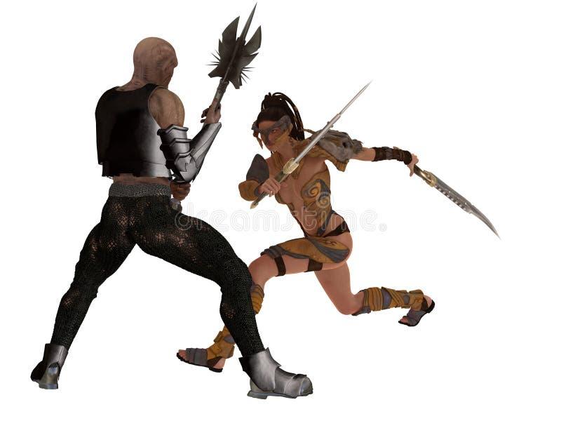幻想女性战士面对恶鬼 库存例证