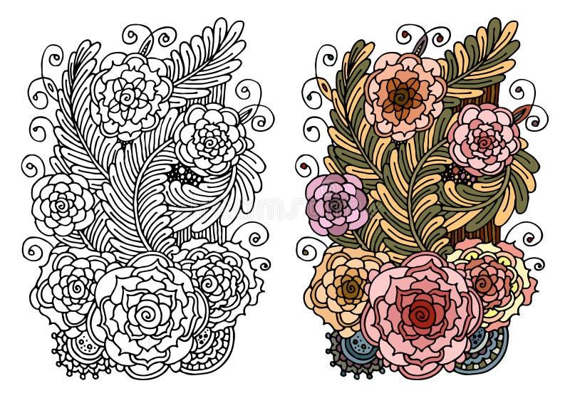 幻想开花/花卉彩图页-手拉的乱画-花卉被仿造的例证 库存例证