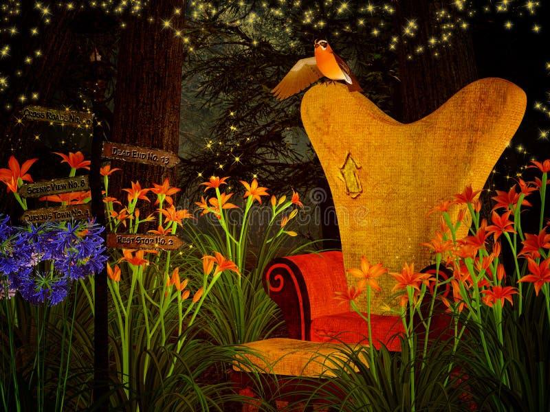 幻想扶手椅子在梦想的森林里 向量例证