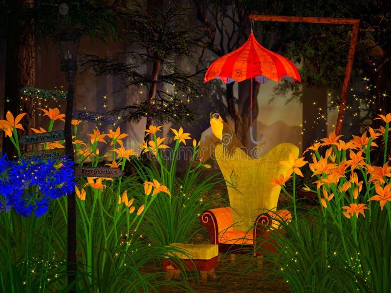 幻想扶手椅子在梦想的森林里 皇族释放例证