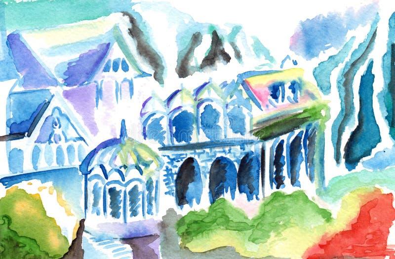 幻想抽象五颜六色elven王国镇大厦 向量例证