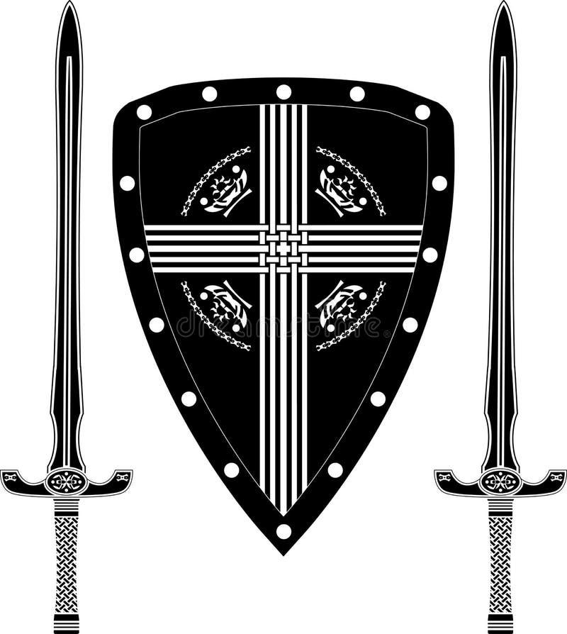 幻想欧洲战士盾和剑  向量例证