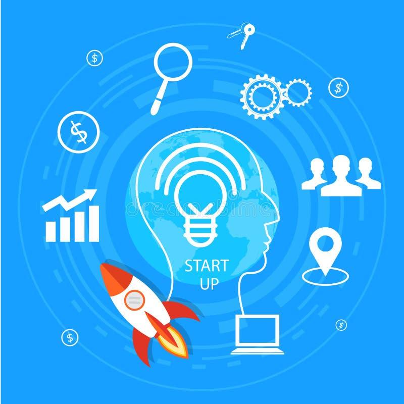 想法一代和起动企业概念 人头Infographic模板 例证 向量例证