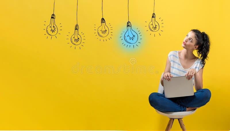 想法与使用膝上型计算机的妇女的电灯泡 免版税图库摄影