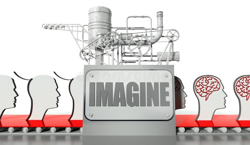 想法与脑子的概念、表面和设备 向量例证
