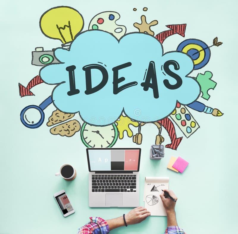 想法云彩电灯泡泡影创造性的图表概念 免版税库存图片