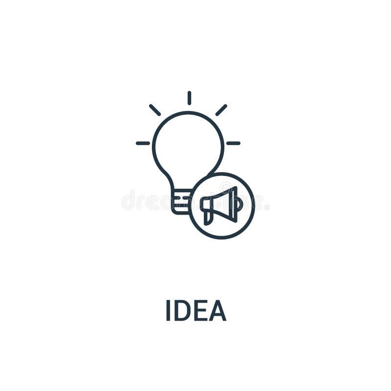 想法从广告汇集的象传染媒介 稀薄的线想法概述象传染媒介例证 线性标志为在网和机动性的使用 向量例证