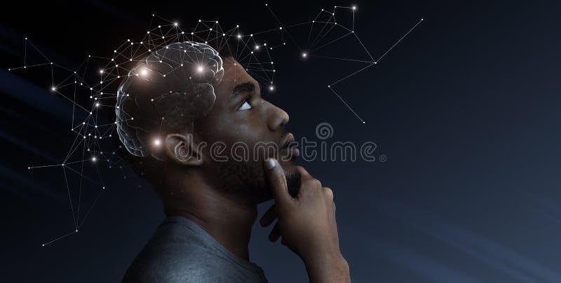 想法从沉思非洲人脑子逃脱 图库摄影