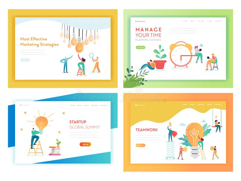 想法企业创新概念登陆的页 库存例证