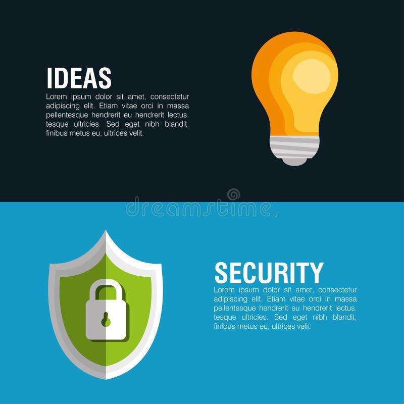 想法保安系统锁盾横幅象 向量例证