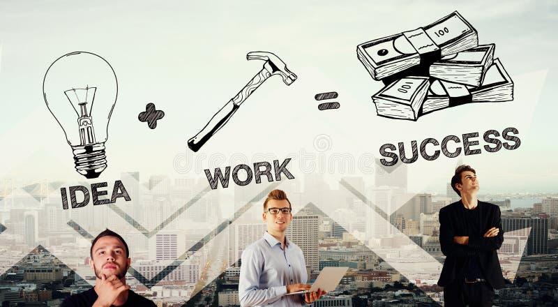 想法加上工作合计成功 向量例证