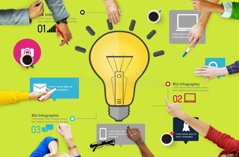 想法启发创造性企业Infographic创新概念 免版税库存照片
