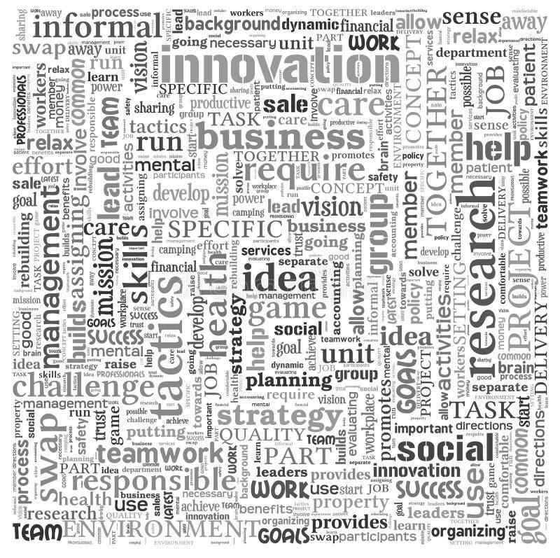 想法和企业概念在词标记云彩 向量例证