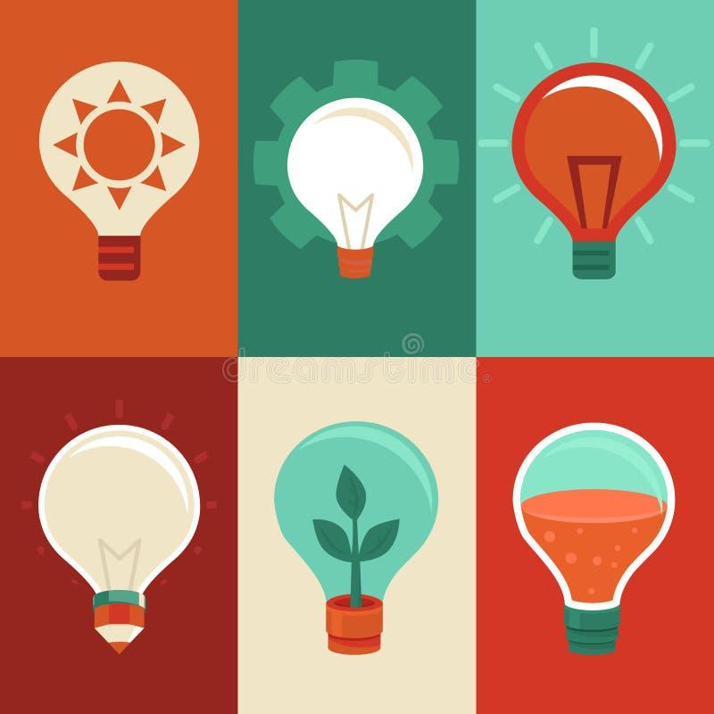 想法和创新概念-平的电灯泡 库存例证