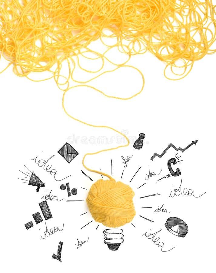 想法和创新的概念与羊毛球 免版税图库摄影