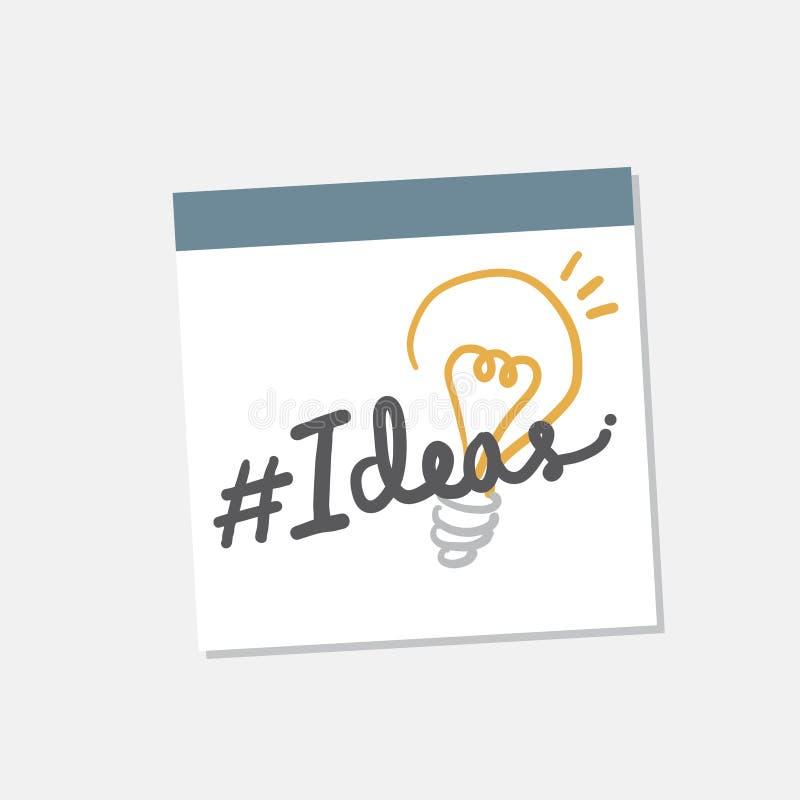 想法和电灯泡例证 向量例证