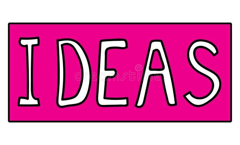 想法在一个桃红色标志板措辞写 向量例证