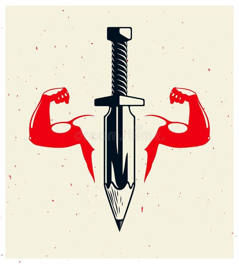 想法是武器概念,作为有铅笔的剑或艺术家讽喻的显示的武器设计师而不是刀片和坚强男人手 库存例证