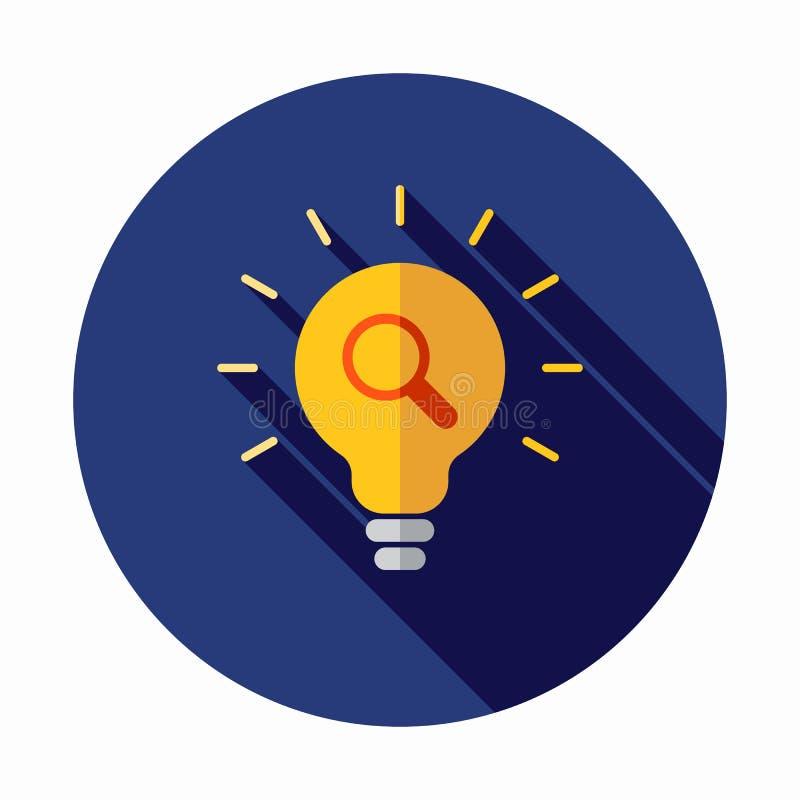 想法查找 放大镜电灯泡传染媒介象 电灯泡例证 看,搜寻想法设计 库存例证