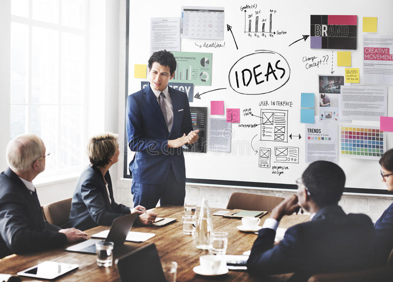 想法概念使命提案战略视觉概念 免版税库存图片