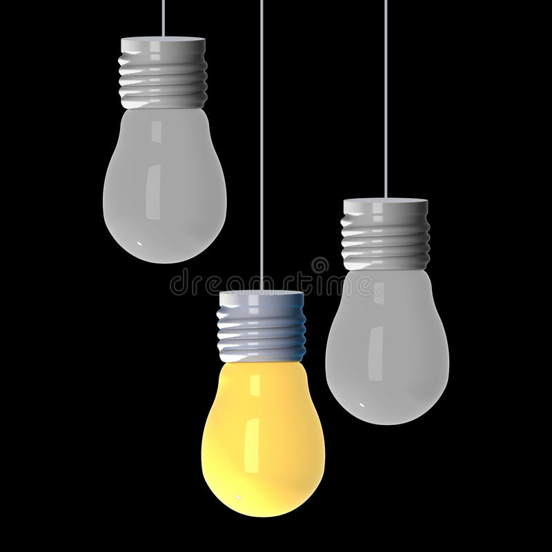 想法概念,回报电灯泡的3D那发光在其他中在黑背景 皇族释放例证