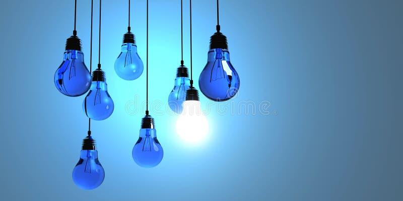 想法概念,在深蓝背景与发光的一个的垂悬的电灯泡隔绝的 库存例证