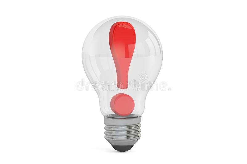 想法概念,在电灯泡里面的惊叹号 3d翻译 向量例证