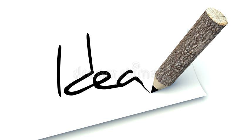 想法概念,生态木铅笔树干 库存例证