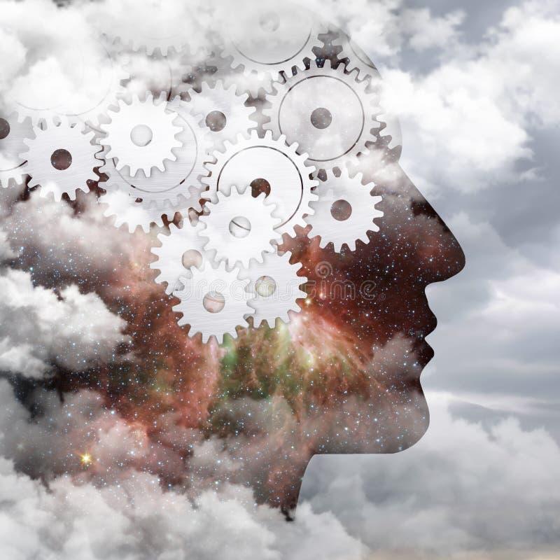 想法流程,人脑 免版税库存照片