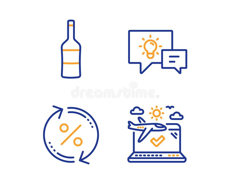 想法灯、贷款百分之和酒象集合 飞机旅行标志 企业能量,变动率,墨尔乐红葡萄酒瓶 ?? 库存例证