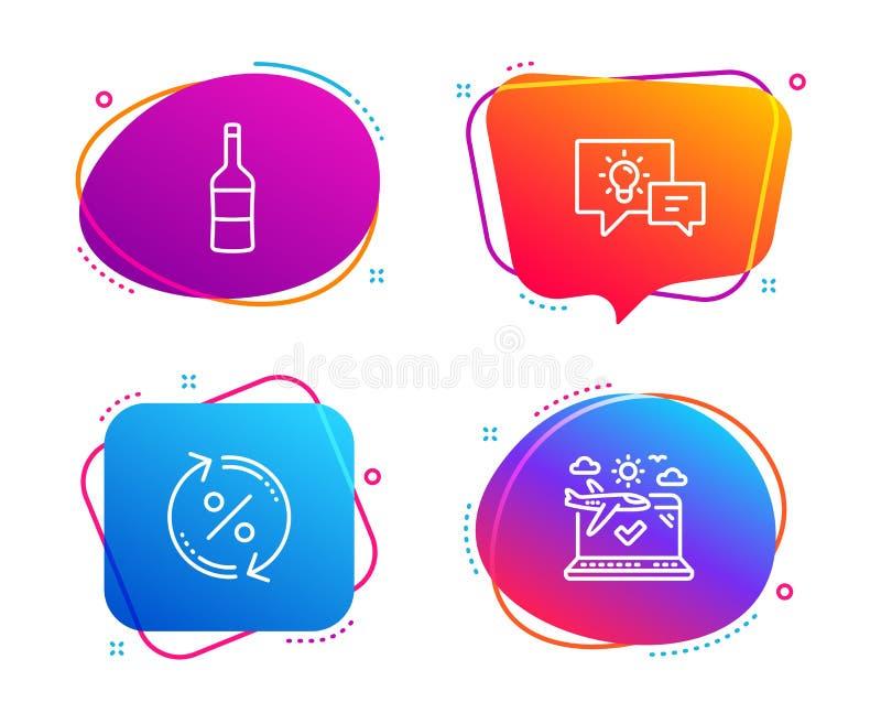 想法灯、贷款百分之和酒象集合 r 企业能量,变动率,墨尔乐红葡萄酒瓶 ?? 库存例证