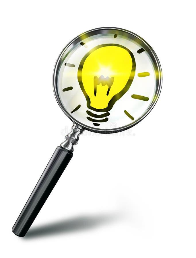 想法灯与放大镜的标志概念 库存例证